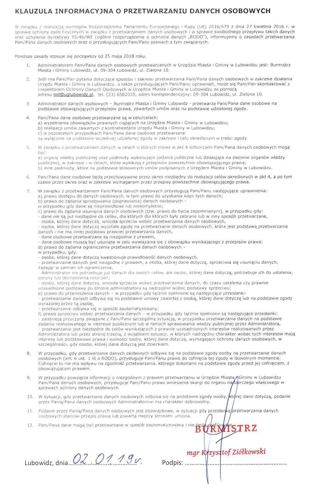 Informacje Podstawowe Urząd Miasta I Gminy W Lubowidzu